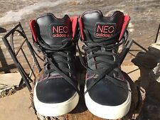 RARE! Mens ADIDAS NEO Black/Red Mid Court Original Basketball Shoes Size 9