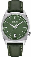 Bulova Accutron II Men's 96B211 UHF Quartz Green Leather Strap 41mm Watch