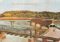 Zanesville, Ohio Covered Timber Y Bridge Muskingum and Licking Rivers Vintage