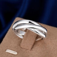 3er Ring Triple Dreifach Ringe Dreier Damen 925er Sterling Silber Ring