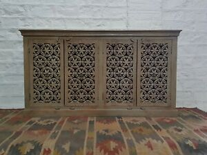 Made to Order Jali Hand Carved Solid wood Sideboard Brown L