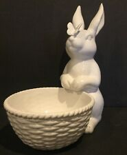 WILLIAMS SONOMA SCULPTURAL RABBIT W/ BUTTERFLY CANDY DISH