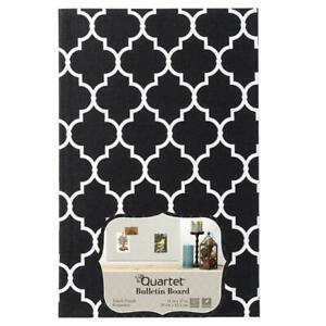 "Quartet Bulletin Board Fabric Finish Home Organization Black White 11"" x 17"""