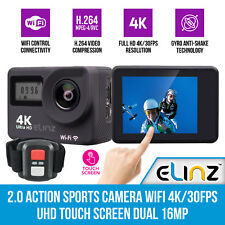 """Elinz 2"""" Action Sports Camera Wifi 4K/30FPS UHD Touch Screen Dual Remote Control"""
