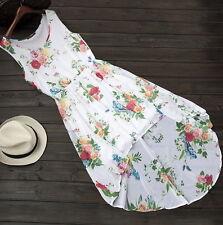 Women Summer Dress PEONY Print Hawaiian 2 lay Beach Dress SunDress Floral L