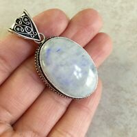"NATURAL OVAL RAINBOW MOONSTONE 925 STERLING SILVER PENDANT 2"" NECKLACE CHARM"