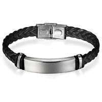 Men Women Classic Briaded Leather Stainless Steel Bracelet Bangle Free Engraving
