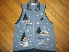 VICTORIA JONES WINTER SCENE SWEATER VEST Knit Embroidered Country Winter Snowman