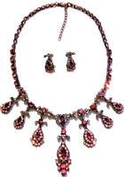 Vintage Art Deco Nouveau Pink Crystal Rhinestones Necklace Earrings Gift Set Wow