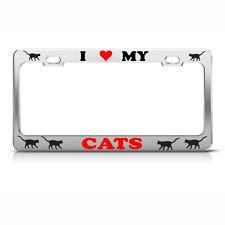 Crazy Cat Lady Black Metal License Plate Frame Tag Holder