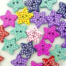 100pcs Mixed Colors Polka Star Dots Wood Buttons Lot 15x15MM Craft/kids Sewing