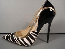 Jimmy Choo Viper Black White Zebra Pony Hair Pointy Toe PUMPS HEELS 35.5/5