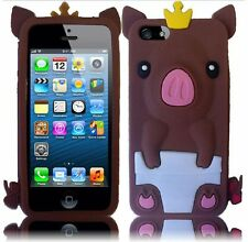 Apple iPhone 5 5S SE Rubber SILICONE Soft Skin Case Cover Cute Crown Pig Brown