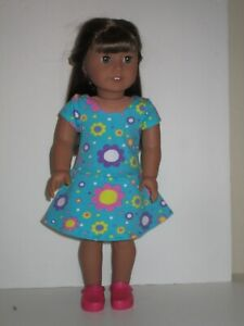 "Flowered Knit Dress for 18"" Doll Clothes American Girl"
