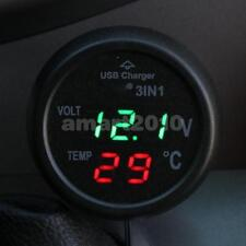 Car Motor Digital Green LED Volt Voltage Gauge Thermometer USB Car Charger