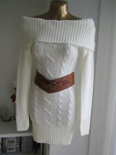 Jane Norman BNWT White Bardot Size 8  6 Long sleeve Top Bodycon Jumper Dress