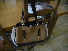 sac à main anse et bandoulière 3 compartiments beige marron noir