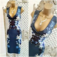 LIPSY  💋 UK 8 Sexy Blue Floral Pleated Waist Pencil Wiggle Dress ~Free Postage~