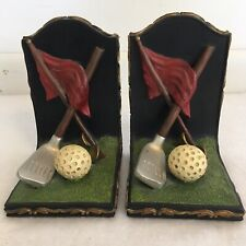 Heavy Golf Themed Book Ends Home Library Room Bookshelf Decor