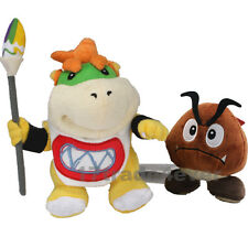 Super Mario Bros. Koopa Jr. Bowser with Pen & Goomba Figure Plush Doll 2pcs