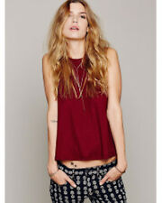 New Free People Womens Exclusive Cranberry LA Nite Tank Top Basic Tee Size M