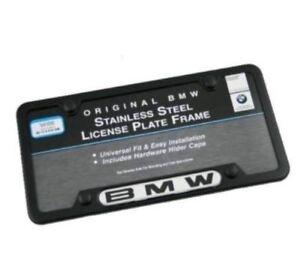 Genuine BMW Black Stainless Steel License Plate Frame w/ Hardware 82120010398