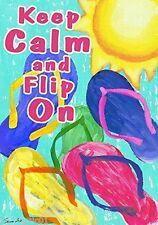"Summer Flag  Flip Flop ""Keep Calm and Flip On"" Garden Flag 12"" X 18"" CHESAPEAKE"