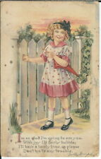 BA-428 Dolly Dimples At the Gate, 1907-1915 Golden Age Postcard