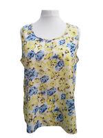 Ladies Floral Summer Tops Silky Vests UK Plus Size 18/20-22/24-26/28-30/32-34/36