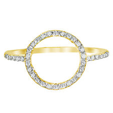 """14k Gold 0.25ctw Diamond Open Circle Ring Size 7 """"O"""" Ring Handmade in USA NEW"""