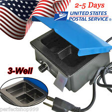3 Well Heater Pot Wax Melting Pot Dental Analog Wax Heater Pot Dental Lab FDA