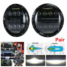 Pair 7'' 150W Black LED Headlight High Low Beam With White DRL For Jeep Wrangler