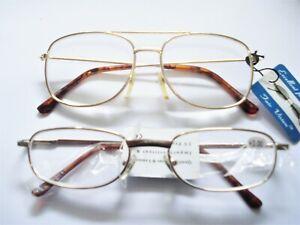 2 Styles Power +3.0 Men's READING GLASSES Retro vintage fashion reader Gold tone