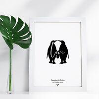 Personalised Word Art Penguin Engagement Wedding Print Unique Couple Gift Frame
