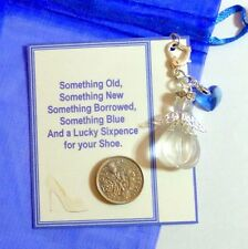 Something Blue Bridal Lucky Charm Guardian Angel Bride Traditional Sixpence