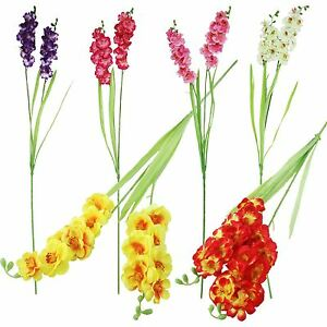 Two Headed Long Orchid Spray - Artificial Marsh Flower Craft Stem Silk Fake