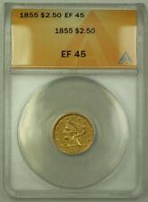 1855 $2.50 Liberty Quarter Eagle Gold Coin ANACS EF-45 KRC