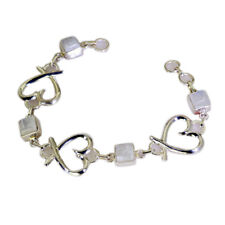 fascinating Rainbow Moonstone 925 Solid Sterling Silver White Bracelet US