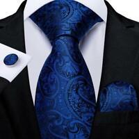 Royal Blue Silk Tie Set Mens Paisley Necktie Pocket Square Cufflinks Wedding