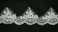 Light Ivory Embroidered Floral lace trim Bridal Wedding tulle Veil trim Per Yard