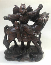 More details for vintage antique? chinese japanese mongolian warrior horse back root carving wood