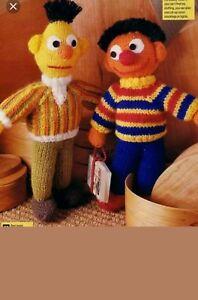 Sesame street Bert and Ernie vintage toy knitting pattern