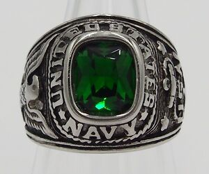 SQUARE MEN RING EMERALD STAINLESS STEEL SILVER US SOLDIER MILITARY SIZE 10.25