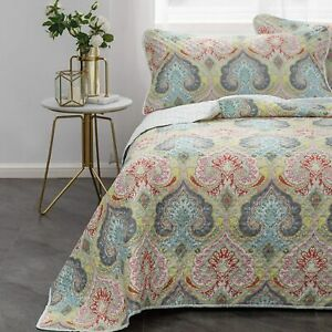 Mohap Bedspread Full/Queen Size Coverlet Set 3 Pieces Printed Pattern Pinsonic S