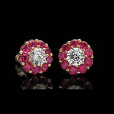 1.75CT Created Diamond Ruby Halo Earrings 14k Solid Yellow Gold Studs Screwback