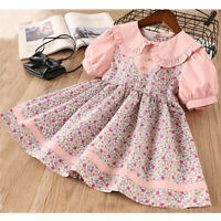 Toddler Baby Kids Girls Fashion Collar Floral Flowers Princess Dress Clothes AU