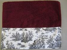 CRIMSON RED HAND TOWELS Black White French Country Guest Toile Bathroom Kitchen