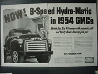 1954 GMC 8-Speed Hydra-Matic Truck Trucks Double Page Vintage Print Ad 10789