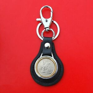 2001 New York State Quarter Coin Leather Key Chain Ring