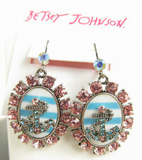 Betsey Johnson ANCHORS AWAY Cameo-Style and Crystal Drop Earrings NEW